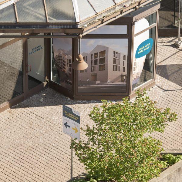 Das Projektbüro der Neuen Mitte Porz von oben © Daniel Poštrak