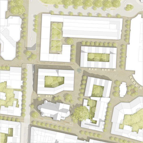 Der Gestaltungsentwurf für die Freiflächen der Neuen Mitte Porz in der Übersicht © club L94