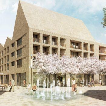 Der Entwurf der Landschaftsarchitekten club L94 sieht ein Wasserspiel in der Porzer Mitte vor © club L94