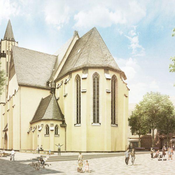 Die Freiflächen rund um die St Josef Kirche © club L94