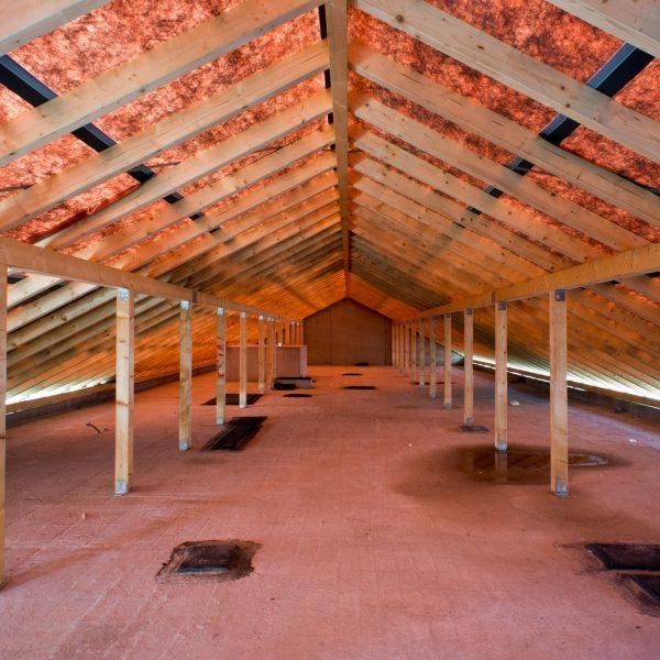 Der fertig gestellte Dachstuhl © Dörthe Boxberg