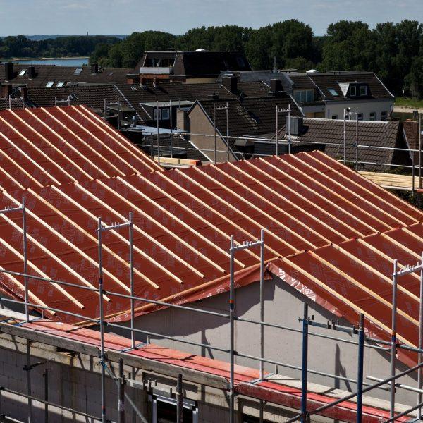 Blick auf die Dachfläche von Haus 1 nach Errichtung des Dachstuhls © Dörthe Boxberg