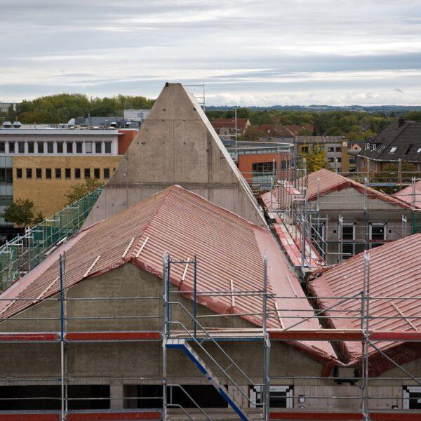 Dachlandschaft vor Beginn der Dachdeckerarbeiten © Dörthe Boxberg