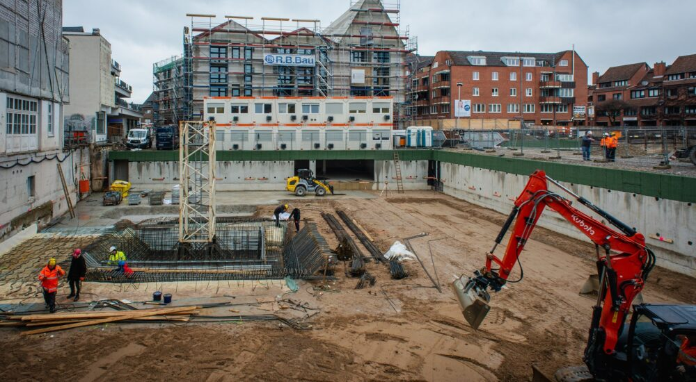 Blick in die Baugrube von Haus 3 © Dörthe Boxberg